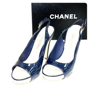 Chanel Leather Shoes in Navy Blue